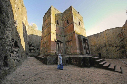 A church carved from rock in Lalibela, one of the stops on the Ethiopia tour led by author Patricia Schultz. (Courtesy of ET African Journeys)