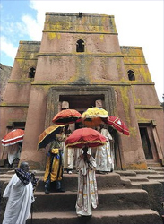 Wallet friendly ... a rock church in Lalibela, Ethiopia Photo: AFP