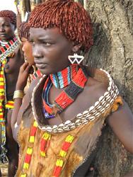 A tribeswoman in a Hammar village on the Omo River in Ethiopia (Photo: David Hochman)