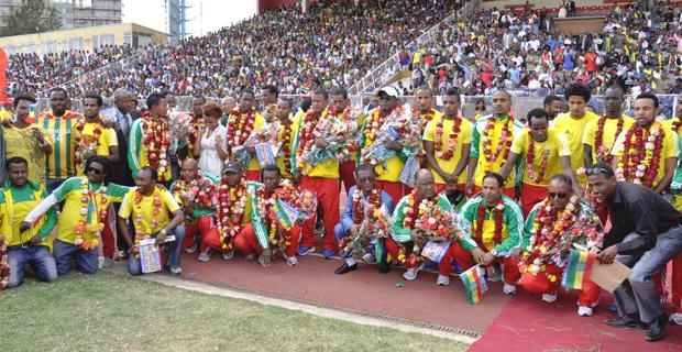 Ethiopian Team at Addis Ababa Stadium (Photo: Addis Fortune)