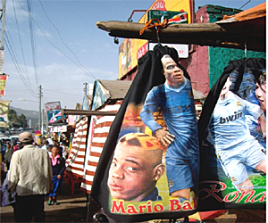 A poster of Italian soccer player Mario Balotelli (Photo: EthiopianReporter.com)