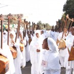 Ethiopian Orthodox Church Choir members playing the Begena (Photo:thereporterethiopia.com)