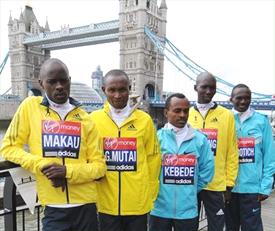 Patrick Makau, Geoffrey Mutai, Tsegaye Kebede, Wilson Kipsang and Stephen Kiprotich ahead of the 2013 Virgin London Marathon (Getty Images)
