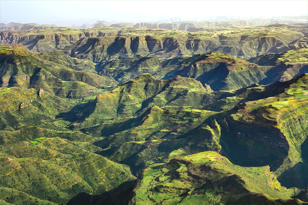 The Simien Mountains, Ethiopia A World Heritage Site and national park, with the tallest peak Ras Dashen reaching 4,619 metres, this region is best known as the habitat of Gelada baboons and Ethiopian wolves