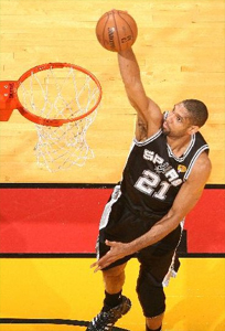 Tim Duncan #21 of the San Antonio Spurs goes up to shoot while playing against the Miami Heat in Game Seven of the 2013 NBA Finals on June 20, 2013 at American Airlines Arena in Miami, Florida. (Photo by Nathaniel S. Butler/NBAE via Getty Images)