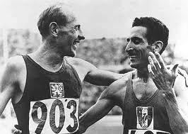 Legendary athletes of the 50s Emil Zatopek (left) and Alain Mimoun