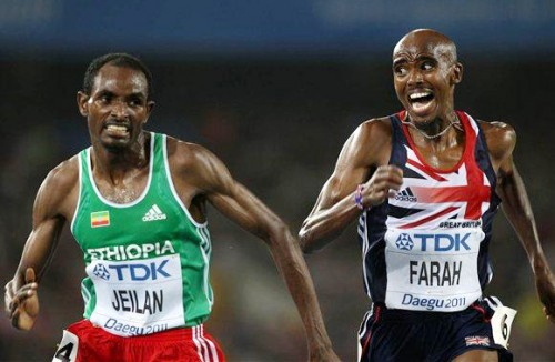 Ibrahim Jeilan of Ethiopia and Mo Farah of Great Britain (Photo: Getty Images)