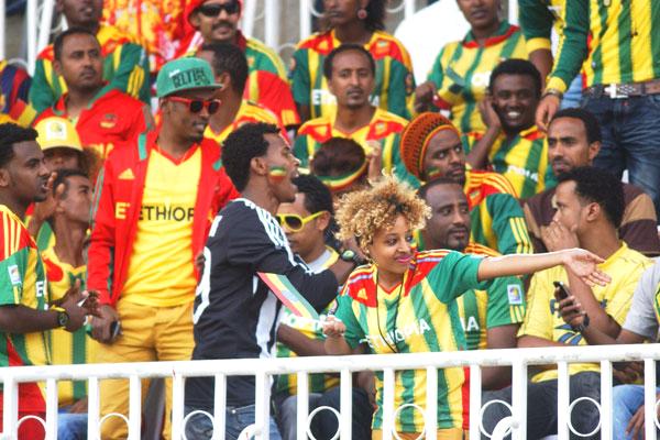 Ethiopian fans cheer on their team at Nyayo Stadium on November 27, 2013. PHOTO | CHRIS OMOLLO  NATION MEDIA GROUP