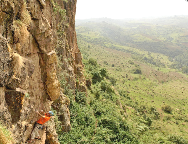 The author enjoying some steep climbing in Ethiopia. Photo by Matt Roberts.