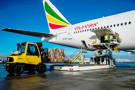 This photo shows the humanitarian cargo being loaded on to Ethiopian Airlines' newest 777-300ER. (photo: Boeing)