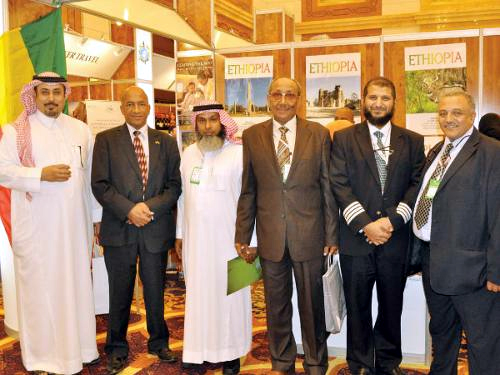Ethiopian officials welcome visitors at the Jeddah International Travel & Tourism Exhibition at the Hilton hotel. — SG photo
