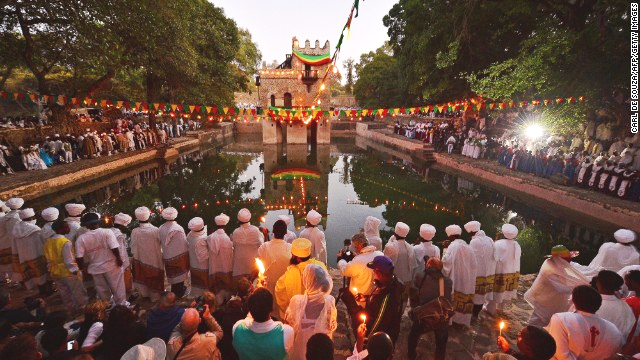 On the morning of Timket, priests hold services, then bless the waters in the Fasilides Bath -- filled once a year for the ceremony. (Photo: Carl de Souza, Getty Images)