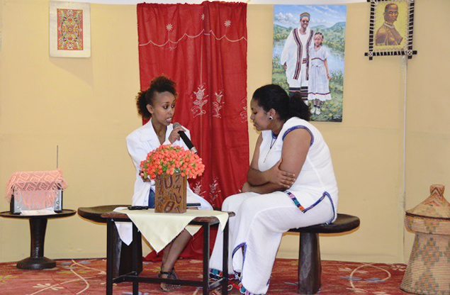 Urban health workers demonstrate a household visit that will be a large part of the extension activities of USAID's Strengthening Ethiopia's Urban Health Program. Photo: Karen Ottoni, USAID Ethiopia