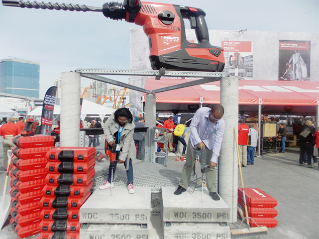 World of Concrete IBP demonstration center – At the World of Concrete IBP, delegates had the chance to try out new equipment and see demonstrations of new techniques, technologies.
