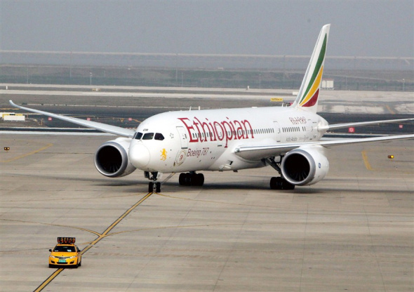 Ethiopian Airlines Flight ET684 arrives at Shanghai Pudong International Airport yesterday. - Xinhua -