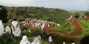 The faithful wend their way towards the Bet Giyorgis – the 50ft-tall Church of St George carved into the volcanic rock of Lalibela by hand, shaped like a giant Greek cross (Photo: Evgeny Lebedev)