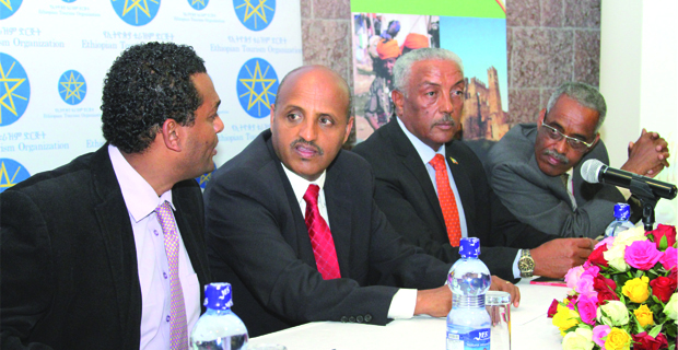 From left to right: Fitsum Gezahegn, president of Tour Operators' Association and Board member of ETO, Tewolde Gebremariam CEO of Ethiopian and Board Chair Person of ETO, Solomon Tadesse CEO of ETO and Busera Awel, Chief Commercial Officer at Ethiopian -