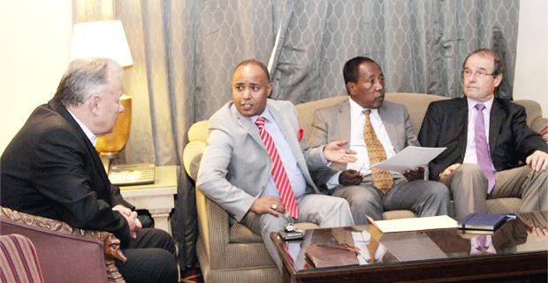 Rolf Gautschi (far left), general manager of Orbis Trading; Melkamu Assefa (left), the CEO of Marathon Motors; Abraham Abegaz (middle), CEO of Nyala Motors and Chris De Muynck (right), managing director of MOENCO (Photo: AddisFortune.net)