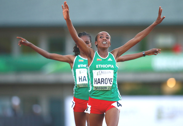 Alemitu Heroye and Alemitu Hawi of Ethiopia cross the finish line to finish first and second respectively in the women's 5000m during day two of the IAAF World Junior Championships at Hayward Field on July 23, 2014 in Eugene, Oregon. (July 22, 2014 - Source: Jonathan Ferrey/Getty Images North America)