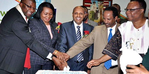 Ethiopian Airlines celebrated the inauguration of its Addis Ababa to Enugu route with (from left to right): Bede Ibeh, (Representative of the Nigerian Ambassador to Ethiopia); Janet Edeme (AU Commission); Tewolde Gebremariam (CEO, Ethiopian Airlines); Bereded Anemut, (Director of West Africa Desk at Ethiopian Ministry of Foreign Affairs); and John Shinkaiye (Former Ambassador of Nigeria to Ethiopia). Photo: ana-aero -