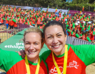 Kaiori Creed and Lyn Cheung celebrating completion of the Great Ethiopian Run which they completed in aid of ORBIS Ireland