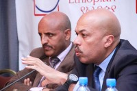 From left: Tewolde Gebremariam and Jean-Paul Ebanga briefing journalists (Photo: The Reporter) -