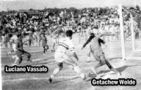 Luciano will tie the game after receiving this pass from the late Getachew Wolde (Photo: Bezabeh Abetew) -