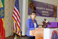 "Ambassador Patricia Haslach gives remarks to Addis Ababa University students at the program to honor International Women's Day ""Make it Happen"". (Photo: US Embassy) -"