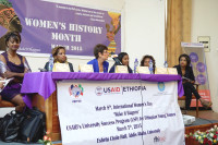 "(Left to Right) Panelists for the program to honor International Women's Day ""Make it Happen"" were Ms. Seble Hailu, Dr. Eleni Gebre-Medhin, Ambassador Patricia Haslach, Ms. Yetinebersh Nigussie , Ms. Meaza Tsegaye and Ms. Tsedenia GebreMarkos. (Photo: US Embassy) -"