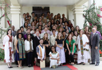 Ambassador Patricia M. Haslach with new sworn- in Peace Corps Volunteers at the U.S. -