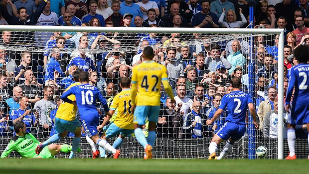 Eden Hazard's penalty was saved but he reacted sharply to head in the rebound. -