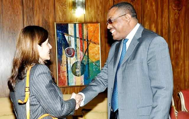 International Monetary Fund (IMF) team leader Andrea Richter Hume meets Ethiopian Prime Minister Hailemariam Desalegn in Addis Ababa.