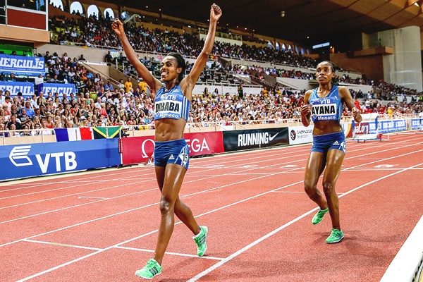 Genzebe Dibaba and Almaz ayana (Photo: Philippe Fitte)