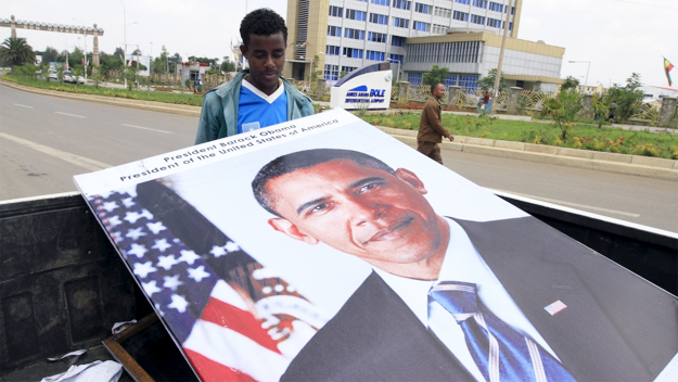 Ethiopians prepared billboards to welcome U.S. President Barack Obama to their capital Addis Ababa. Credit: Tiksa Negeri/Reuters