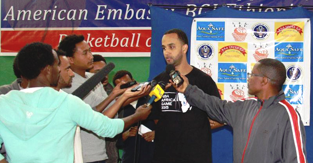 Ethiopian-American Luca Desta, who is a scout for the Dallas Mavericks, being interviewed by ethiopian journalists (credit: U.S. Embassy in Addis)