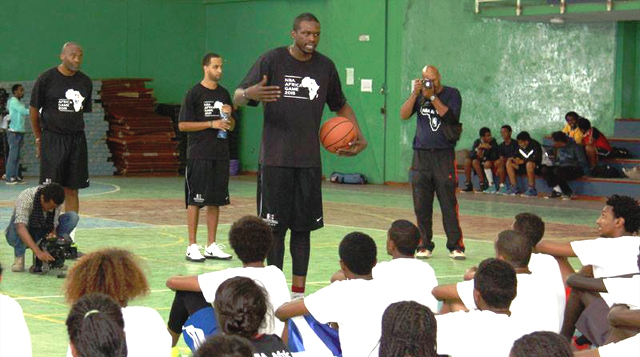 The great Luol Deng of the Miami Heat with some of the trainees (credit: U.S. Embassy in Addis)
