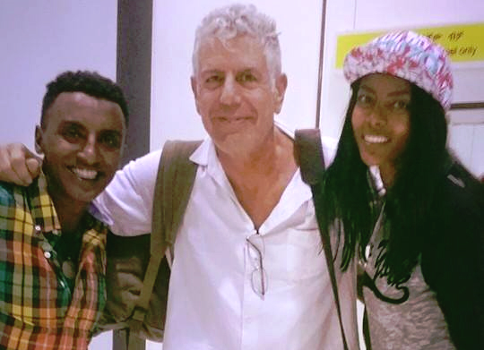 Chef Marcus Samuelsson, CNN's Chef Anthony Boudrain and Marcus' wife Maya Haile (Photo: Maya Haile's Facebook page)