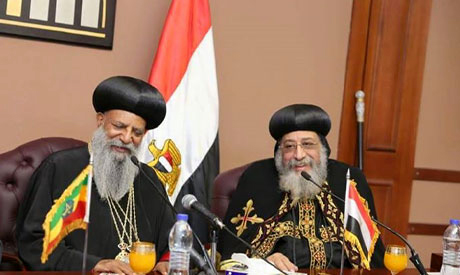 Egypt's Coptic Pope Tawadros II (right) with the Ethiopian Patriarch Mathias I during a press conference in Cairo (Photo: courtesy of Coptic Orthodox Church Spokesperson Facebook page)