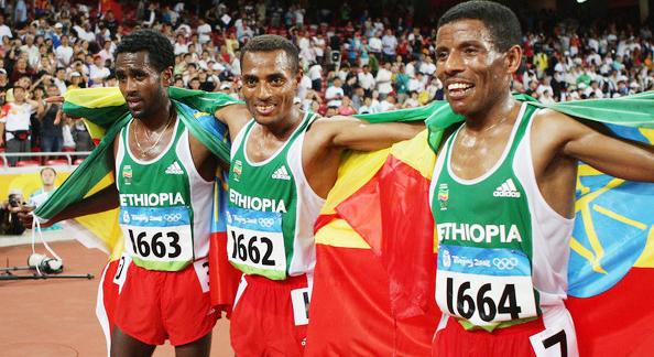 Sileshi Sihin (left), Kenenisa Bekele and Haile Gebrselassie
