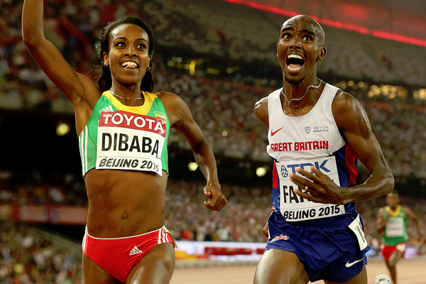 Genzebe Dibaba and Mo Farah (credit: Getty Images)