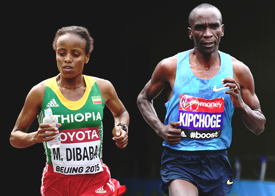 Mare Dibaba and Eliud Kipchoge (photo credit: Getty Images)