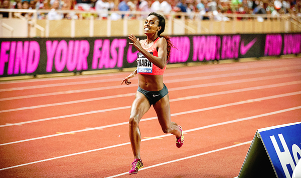 Genzebe Dibaba on her way to breaking the 1500m world record at the IAAF Diamond League meeting in Monaco (photo: Philippe Fitte)