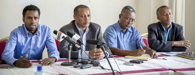 From left, Ethiopian athletes representative Sileshi Sihine, Athletics Federation head Alebachew Nigussie, national track team doctor Ayalew Tilahun, and national anti-doping office head Mengistu Abebe, speak at a press conference about current doping issues in Addis Ababa, Ethiopia Thursday, April 7, 2016 (Photo: Associated Press)