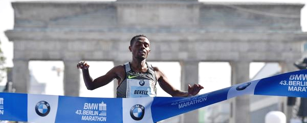 Kenenisa Bekele crosses the line to win the 2016 Berlin Marathon in 2:03:03 (John MacDougall/AFP/Getty