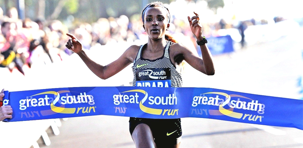 Tirunesh Dibaba winning Great south Run (photo credit: athleticsweekly.com)